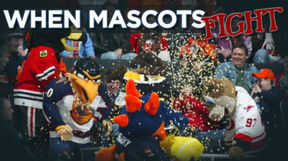 Mascots fighting