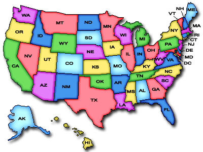 Clickable image map of the USA